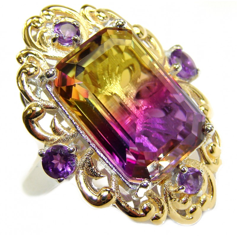 HUGE Emerald cut Ametrine .925 Sterling Silver handcrafted Ring s. 7