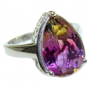 Genuine 25ct Ametrine .925 Sterling Silver handcrafted ring; s. 7 1/4