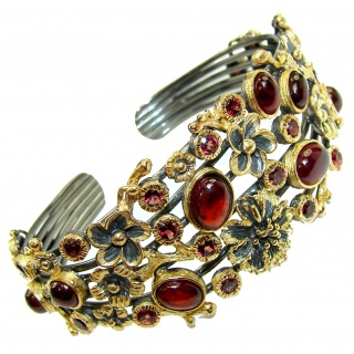 Floral Design Genuine Garnet 18K Gold Rhodium over .925 Sterling Silver Bracelet / Cuff