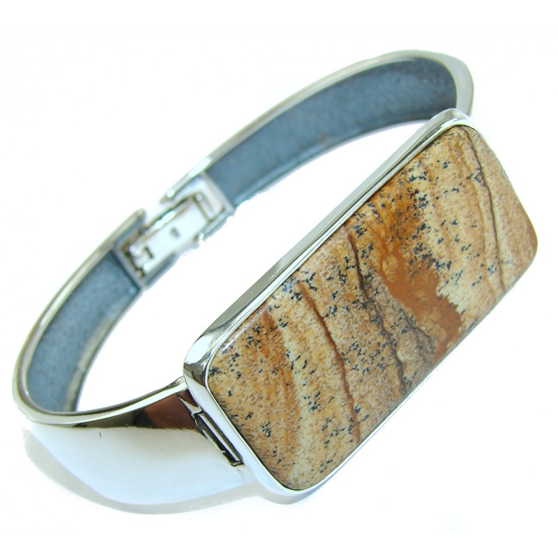Sublime Beauty of Nature Picture Jasper .925 Sterling Silver handcrafted Bracelet