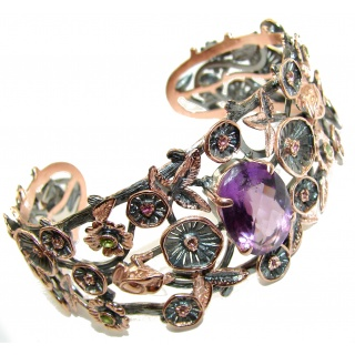 Real Treasure Genuine Amethyst 18K Gold Rhodium over .925 Sterling Silver Bracelet / Cuff