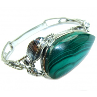 Stunning genuine Malachite .925 Sterling Silver handcrafted Bracelet