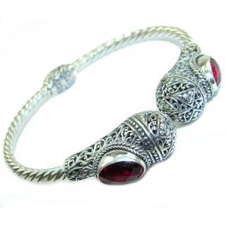 Bali Made Pink Raspberry Topaz .925 Sterling Silver handcrafted Bracelet / Cuff