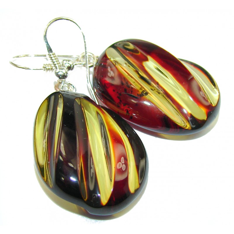Exclusive Carved Balitic Amber .925 Sterling Silver handmade Earrings