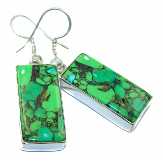 Precious Green Turquoise .925 Sterling Silver handmade earrings