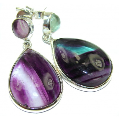 Exclusive genuine Fluorite .925 Sterling Silver handcrafted earrings
