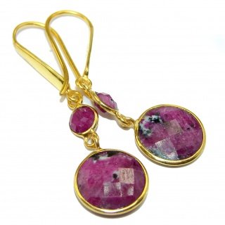 Trendy Ruby 14K Gold over .925 Sterling Silver handmade earrings