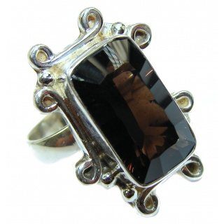 Authentic Smoky Topaz .925 Sterling Silver handcrafted ring; s 9 3/4