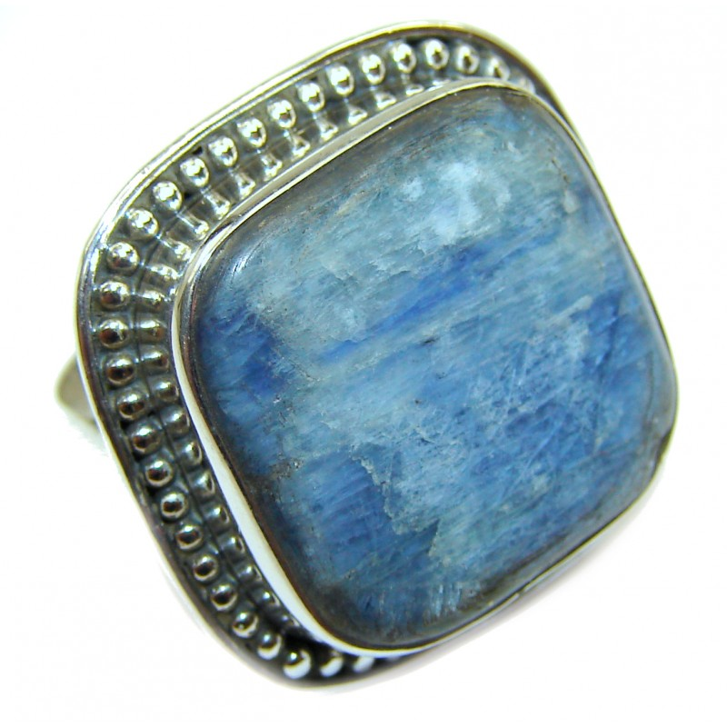 Huge Natural Kyanite .925 Sterling Silver handcrafted ring size 6 3/4