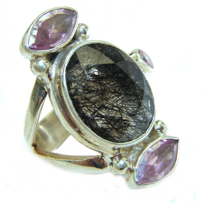 Mysterious Tourmalinated Quartz .925 Sterling Silver handmade ring s. 7