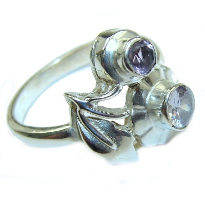 Huge Natural Amethyst .925 Sterling Silver handmade Cocktail Ring s. 8 1/4