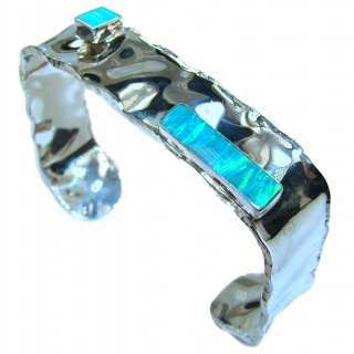 Real Treasure Fire Opal hammered .925 Sterling Silver Bracelet / Cuff