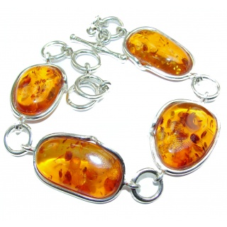 Beautiful AAA quality Baltic Polish Amber .925 Sterling Silver handcrafted Bracelet