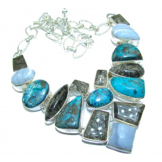Great quality Chrysocolla .925 Sterling Silver handcrafted Necklace