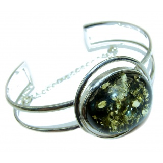 Gorgeous quality Green Baltic Amber .925 Sterling Silver Bracelet / Cuff