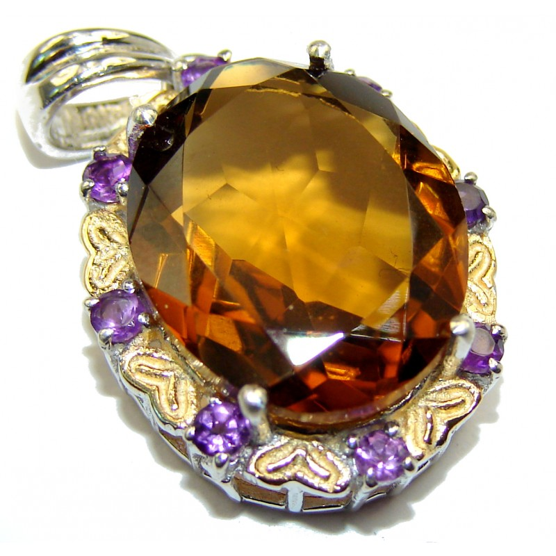 Precious Champagne Topaz 14k Gold over .925 Sterling Silver handcrafted Pendant