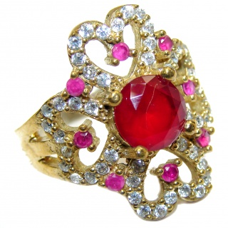 Large Victorian Style created Ruby & White Topaz Sterling Silver ring; s. 8 1/2