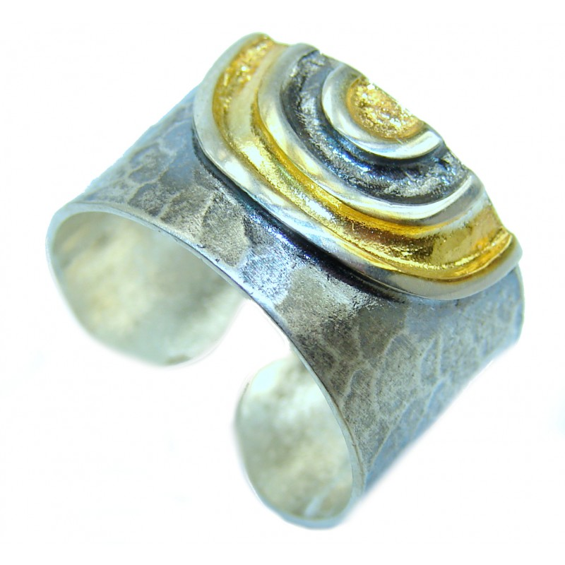 Two Tones .925 Sterling Silver handmade Ring s. 7 adjustable