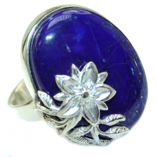 Natural Lapis Lazuli .925 Sterling Silver handcrafted ring size 6 adjustable