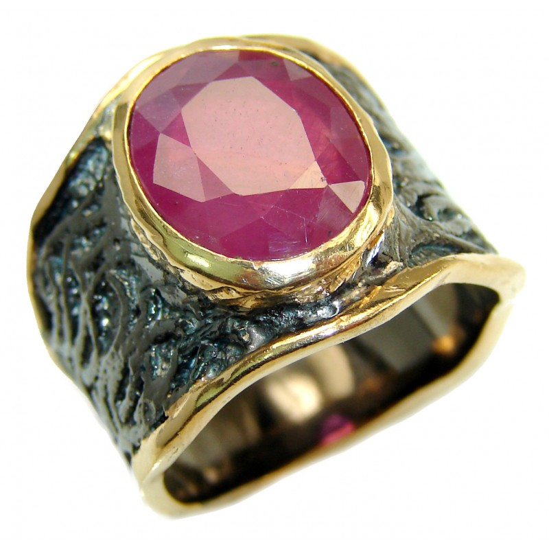 Large genuine Ruby 18K Gold over .925 Sterling Silver Statement Italy made ring; s. 8