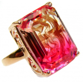 Genuine 25ct Pink Tourmaline color Topaz Rose Gold over .925 Sterling Silver handcrafted ring; s. 6 3/4