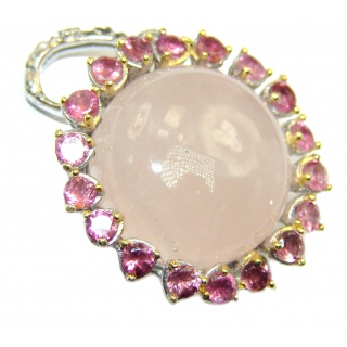 Pink Power 55ct Rose Quartz .925 Sterling Silver handcrafted Pendant