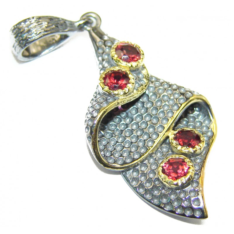 Beautiful genuine Garnet Rhodium over .925 Sterling Silver handcrafted Pendant