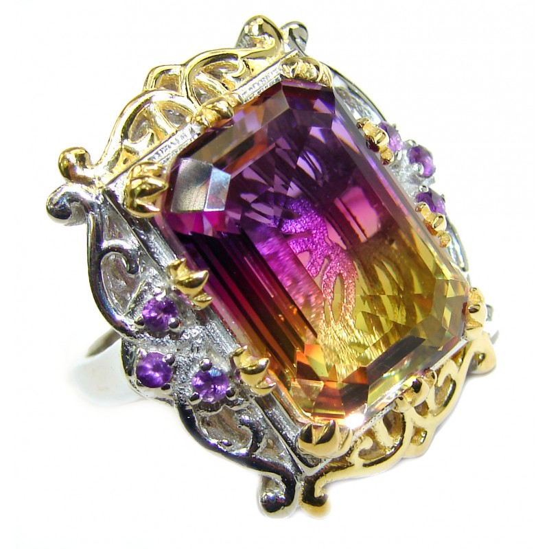 HUGE Emerald cut Ametrine 18K Gold over .925 Sterling Silver handcrafted Ring s. 7 1/4