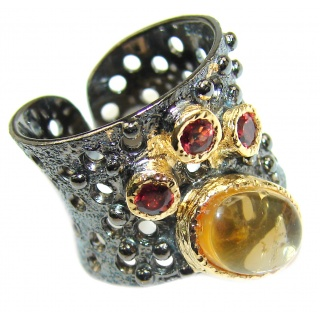 Vintage Style 20ct Natural Citrine 14ct Gold over .925 Sterling Silver handcrafted Ring s. 7 adjustable