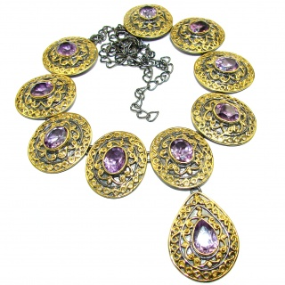 Artisan Master Piece genuine Amethyst 18K Gold over .925 Silver handcrafted Necklace