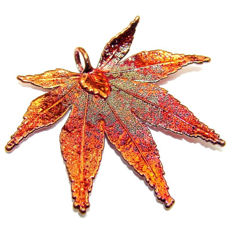 Stylish Deeped In Copper Leaf Sterling Silver Pendant