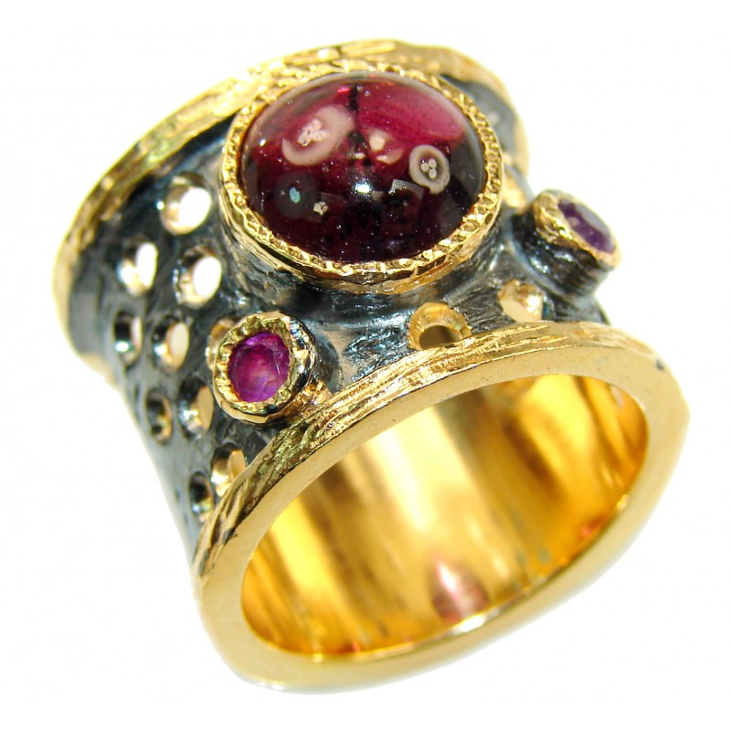 Genuine 28 ct Garnet 18ct Gold Rhodium over .925 Sterling Silver handmade Cocktail Ring s. 7