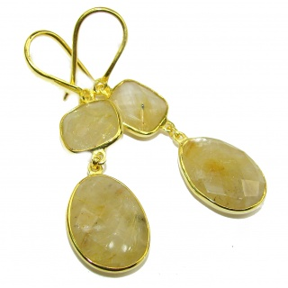 Perfect Golden Rutilated Quartz 18K Gold over .925 Sterling Silver handmade earrings