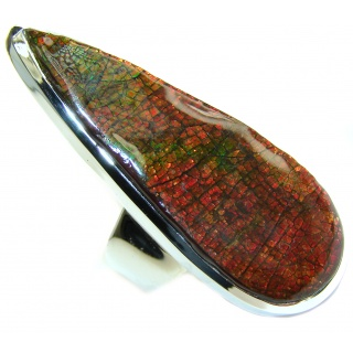 HUGE Pure Energy Genuine Canadian Ammolite .925 Sterling Silver handmade ring size 9