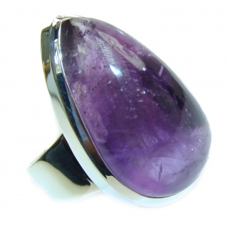 Spectacular genuine Amethyst .925 Sterling Silver handcrafted Ring size 10