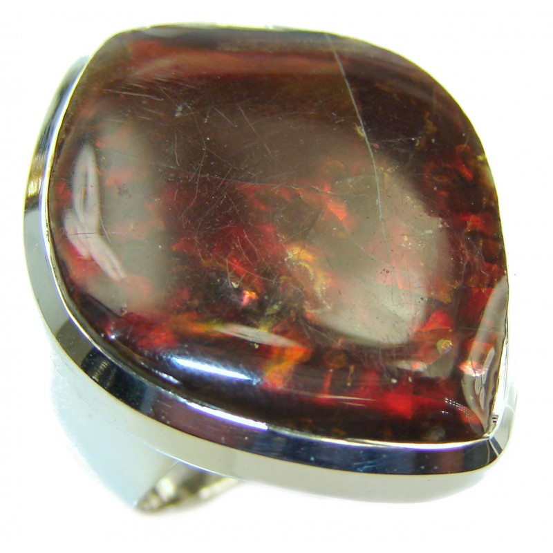 HUGE Pure Energy Genuine Canadian Ammolite .925 Sterling Silver handmade ring size 7