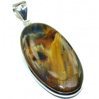 Huge Genuine AAA quality Silky Black Pietersite .925 Sterling Silver handmade pendant