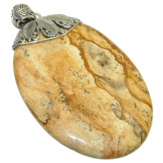 Large Bohemian style Picture Jasper .925 Sterling Silver handmade Pendant