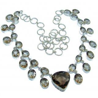 Incredible Design Champagne Smoky Topaz .925 Sterling Silver handmade necklace