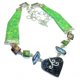 Amazing Huge Green Turquoise .925 Silver hancrafted necklace