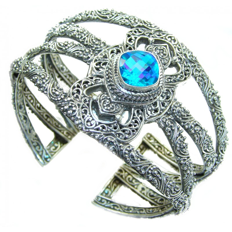 Huge Luxury Aqua Magic Topaz .925 Sterling Silver handmade Cuff/Bracelet