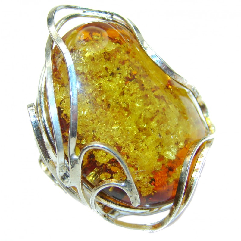 Authentic Green Baltic Amber .925 Sterling Silver handcrafted ring; s 8 adjustable