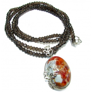 Incredible Treasure Mexican Fire Opal .925 Sterling Silver handmade Necklace