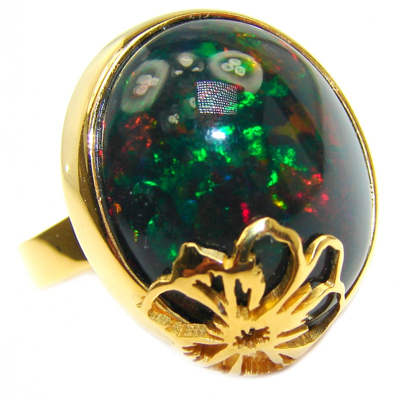 Vintage Design Genuine Black Opal 18K Gold over .925 Sterling Silver handmade Ring size 8 adjustable