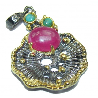 Vintage Style Ruby 18k Gold over .925 Sterling Silver handmade Pendant