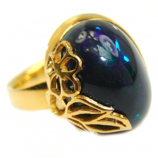 Vintage Design Genuine Black Opal 18K Gold over .925 Sterling Silver handmade Ring size 7 adjustable