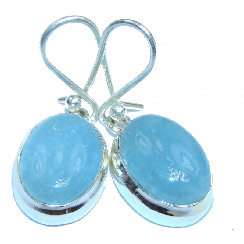 Simple Style genuine Aquamarine .925 Sterling Silver handmade earrings