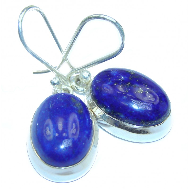 Navy Blue Lapis Lazuli .925 Sterling Silver handmade earrings