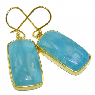 Simple Style genuine Aquamarine 18K Gold over .925 Sterling Silver handmade earrings