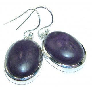Perfect Natural Sugalite .925 Sterling Silver handmade earrings